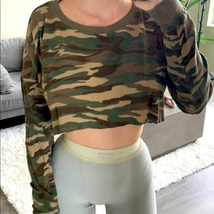 Forever 21 Army Print Crop Top